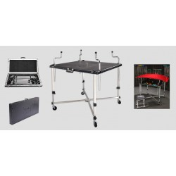 "Aluminum table/case hood & trunk rack w/wheels - 40""x40"", 40 lbs."