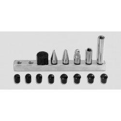 7/16' 6-pc screw-on tip set: 1' & 2' extensions, 1' softtip, 1' medium tip, 1' pencil point, 3/4' rubber tip