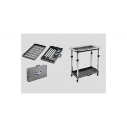 "Ultra Case Cart - 15"" x 28"" x 2"" Alum.dbl tray tool cart w/6 tool holders. Folds into suitcase."